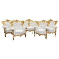 Old French Louis xvi Baroque living room set sofa + 4 chairs