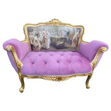French Louis XVI Style Settee in Pink Velvet and Gobelin