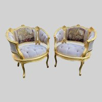 New French Louis XVI Chairs in Tan - a Pair