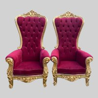 Baroque Style Throne Chairs in Tufted Red Velvet- a Pair