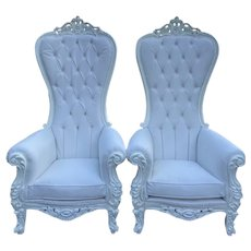 White Leather Baroque Style Tufted Throne Chair- a Pair