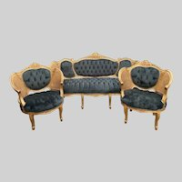 French Louis XVI Sofa Set with 2 Chairs in green - WORLDWIDE SHIPPING