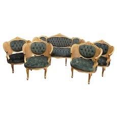 French Louis XVI Sofa Set with 4 Chairs in green - WORLDWIDE SHIPPING