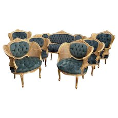 French Louis xvi sofa with 6! chairs. Unique chance! Worldwide shipping