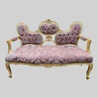 Beautiful French Sofa from 1940 in damask - worldwide shipping