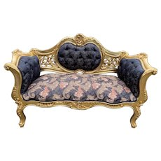 New French Black Damask Louis XVI Style Settee