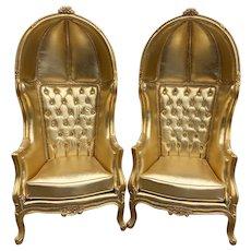 All Gold Tufted Throne Balloon Chairs. A Pair.