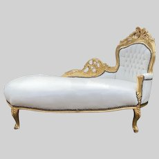 French Louis XVI Style White Chaise Lounge.