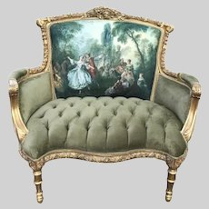 New Green French Louis XVI Style Corbeille Loveseat. Made by Order