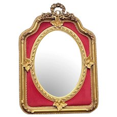 Special French Louis XVI Style Mirror in Gold With Red Velvet