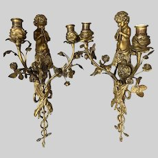 Antique French Louis XVI Bronze Sconces - a Pair. Free Shipping