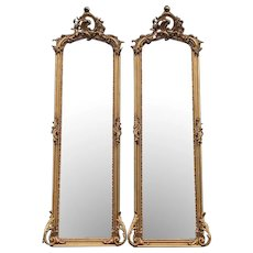Rococo Style Full Length Mirror-A Pair