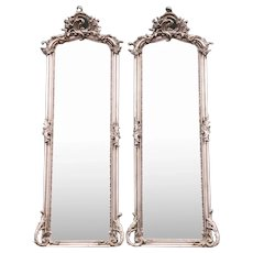 Rococo Style Full Length Mirror Silver Leaf a Pair