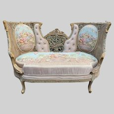 Unique French Louis XVI Style Love Seat Trianon Green