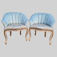 Two Unique French Shell/Easy Chair in Turquoise - a Pair FREE SHIPPING