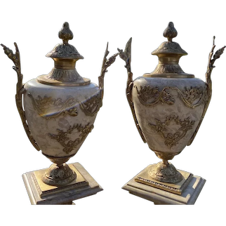 Two French Marble Vases With Gold - a Pair