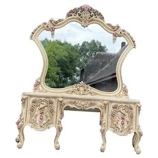 French Louis XVI Floral Vanity With Drawers