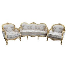 Handcrafted French Louis XVI Style Gold/beige 3-piece Set - Sofa and Two Chairs - Custom Made