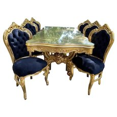 Italian Baroque Style Dining Table with 6 Dining chairs - Black and Gold - Custom Made