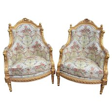 French Louis XVI Chairs With Floral Damask and Gold Leaf Frame - a Pair