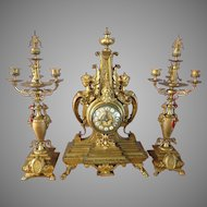 Antique French table/mantle clock with two candelabras from 1850-FREE SHIPPING