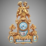 Antique French table  clock with Sevres-Japy Freres-1855- FREE SHIPPING