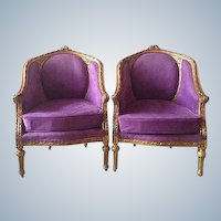 Louis XVI, French style, pair of two chairs