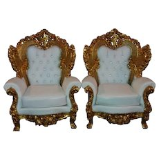 Rococo big model pair of two chairs, handmade items, Italian style and design.