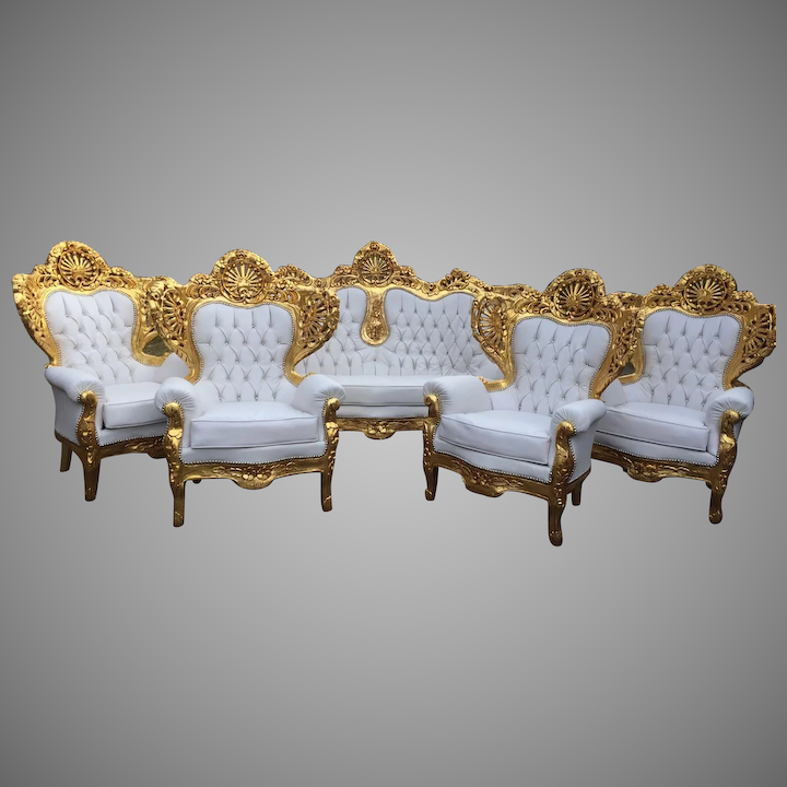 Complete Italian sofa and 4 chairs in Baroque style