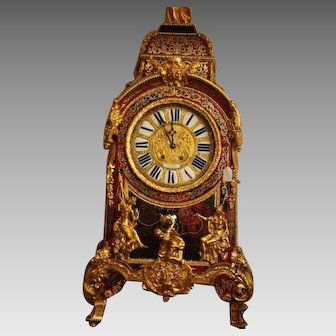 Signed French Boulle Console Clock From 1860 - Free Worldwide Shipping