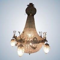 Pair of Louis XVI Deer Head Chandeliers - Free Worldwide Shipping