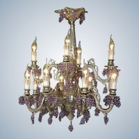 Beautiful LOUIS XVI-inspired CHANDELIER with CRYSTAL grapes