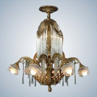 Beautiful LOUIS XVI-inspired CHANDELIER bronze with CRYSTAL