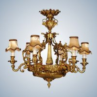 Beautiful LOUIS XVI-inspired chandelier BRONZE with high-quality decorations