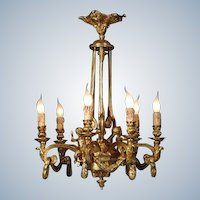 Beautiful LOUIS XVI-inspired CHANDELIER Gilded Bronze