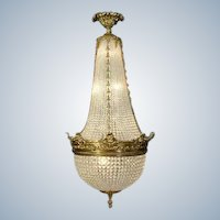 Beautiful Louis XVI-style Chandelier Bronze with Crystal