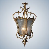 Stunning FIXTURE LANTERN Louis-XVI style Gilded Bronze with Hand-Cut Glass