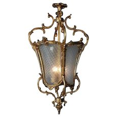 Stunning FIXTURE LANTERN Louis-XVI style Gilded Bronze with Hand-Cut Glass