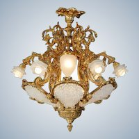 Eye-catching Gilded Bronze Louis XVI style Chandelier with Crystal and High-quality Glass