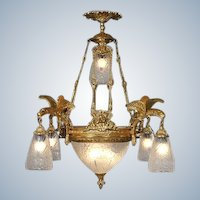 Louis XVI style Chandelier Gilded Bronze