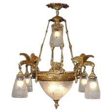 Louis XVI style Chandelier Gilded Bronze
