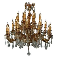 Eye-Catching Gilded Bronze Louis XVI style Chandelier with Crystal