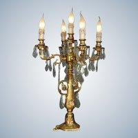 Stunning Louis XVI Candelbra Gilded Bronze with Crystal