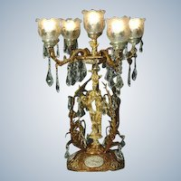 Louis XVI style Candelabra Gilded Bronze with Crystal