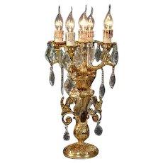 Stunning Louis XVI Candelabra Gilded Bronze with Crystals