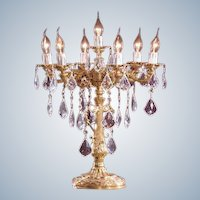 Louis XVI style Candelabra Crystal with Gilded Bronze 7 Arms