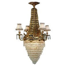 Louis XVI style chandelier with Gilded Bronze and Crystal and beautiful Shades on Arms