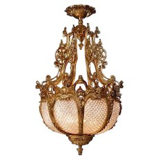 Beautifully Shaped Chandelier Louis XVI Style: Gilded Bronze with Crystals