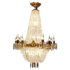 Chandelier Louis XVI Gilded Bronze and Crystals