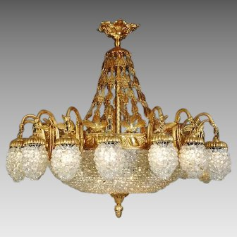 Louis XVI Chandelier Gilded Bronze and Crystal